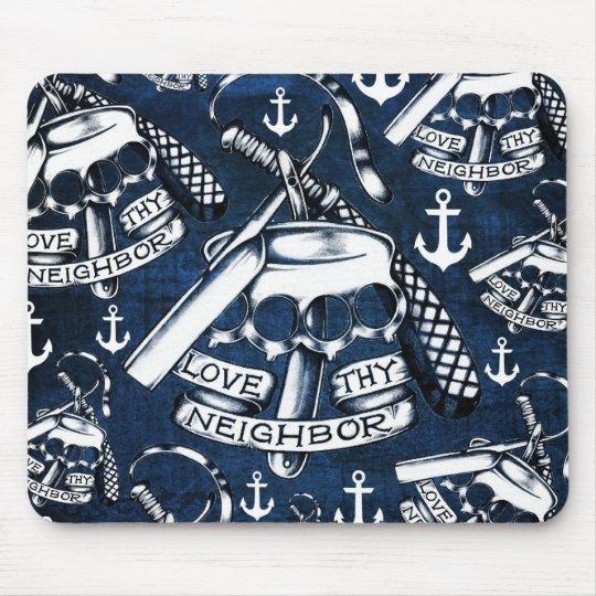 Love thy Neighbours retro Tattoo pattern in navy.