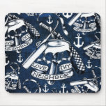 Love thy Neighbours retro Tattoo pattern in navy. Mouse Mat
