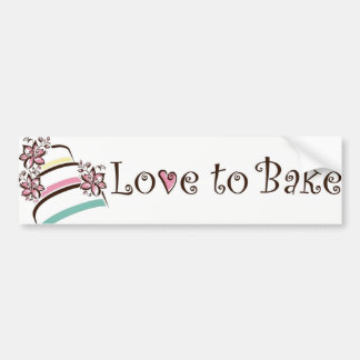 love to bake cake bumper sticker