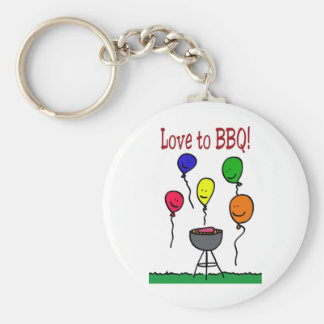 Love to BBQ Basic Round Button Key Ring
