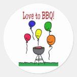 Love to BBQ Round Stickers