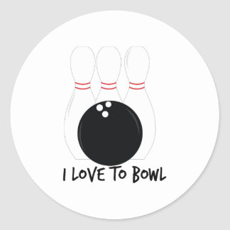 Love To Bowl Classic Round Sticker