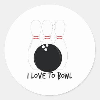 Love To Bowl Round Sticker