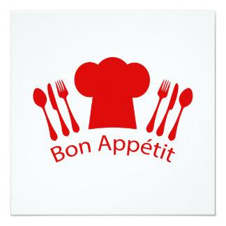 Love to Cook Chef Hat Bon Appetit 13 Cm X 13 Cm Square Invitation Card