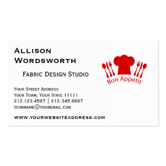 Love to Cook Chef Hat Bon Appetit Business Cards
