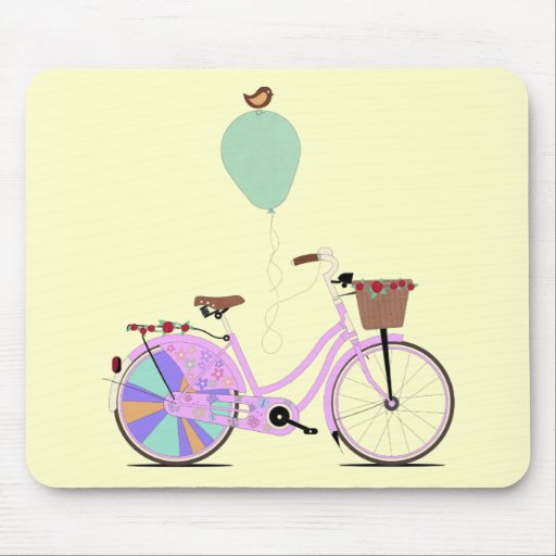Love to Cycle on my Pink Bike by Andy Scullion Mouse Pads