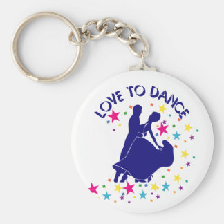 Love to dance basic round button key ring