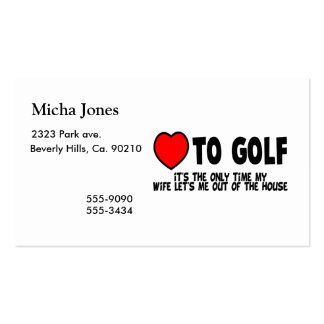 Love To Golf Pack Of Standard Business Cards