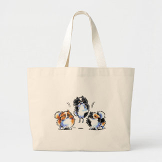 Love to Parti Pomeranians Large Tote Bag