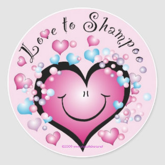 LOVE to Shampoo ©StyleStickers™ Round Sticker