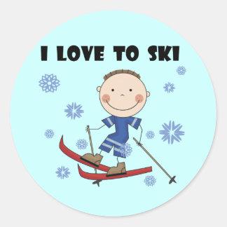 Love to Ski - Boy Tshirts and Gifts Round Sticker