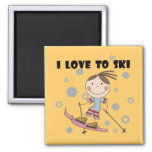 Love to Ski - Girl Tshirts and Gifts Magnets