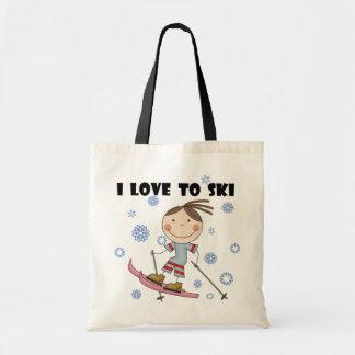Love to Ski - Girl Tshirts and Gifts Bags