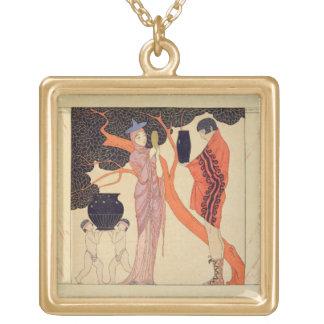 Love Token (w/c on paper) Square Pendant Necklace