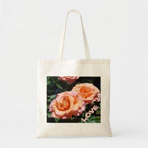 LOVE Tote Bags Valentines Pink Rose Flowers