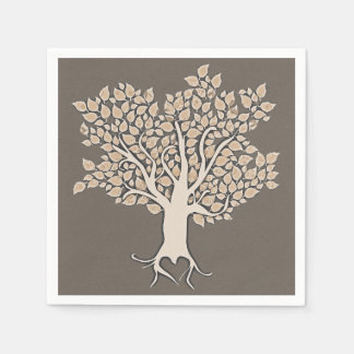 love tree brown ivory wedding paper napkins