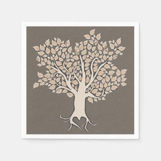 love tree brown ivory wedding paper napkins
