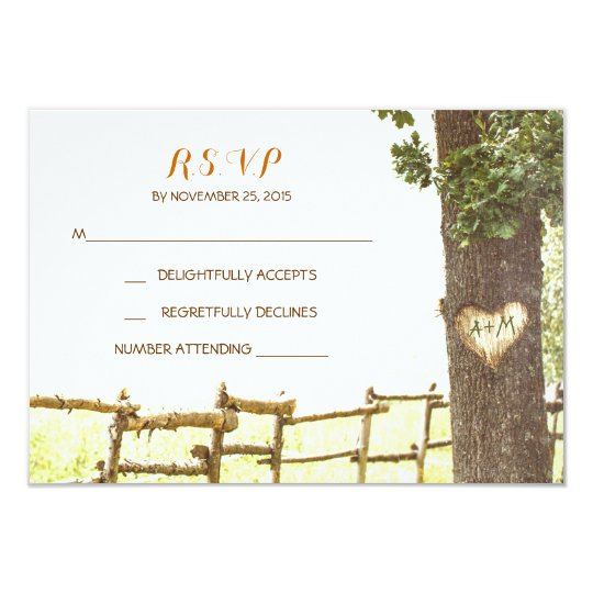 love tree countryside wedding RSVP cards
