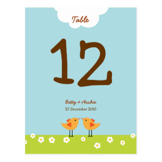 Love Tree Day Table Number Postcards