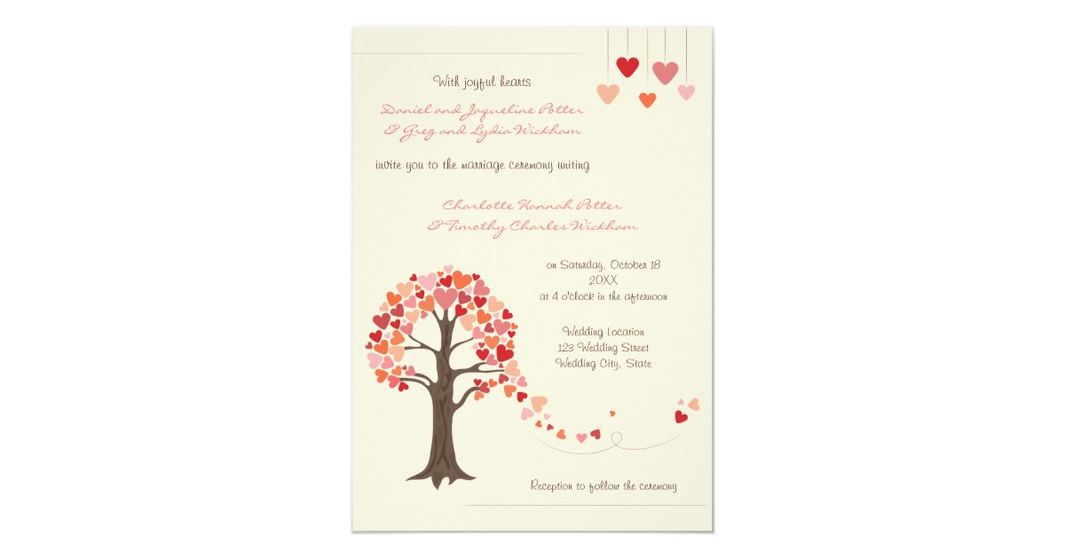 Heart Wedding Invitations Uk: Love Tree Hearts Wedding Invitation