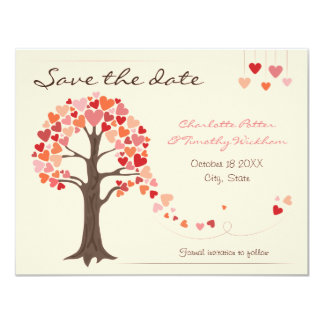 Love Tree Hearts Wedding Save the Date 4.25x5.5 Paper Invitation Card