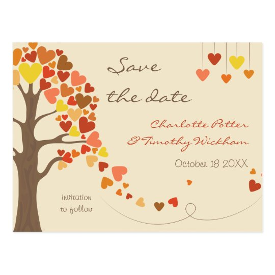 Love Tree Hearts Wedding Save the Date Postcard