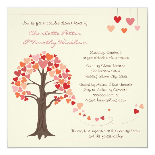 Love Tree Hearts Wedding Shower Invitation