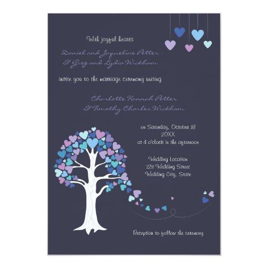 Love Tree Hearts Winter Wedding Invitation Blue