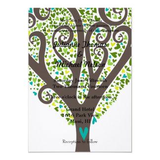 """Love Tree of Hearts 5"""" X 7"""" Invitation Card"""