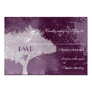 Love Tree Purple Theme Wedding RSVP 9 Cm X 13 Cm Invitation Card