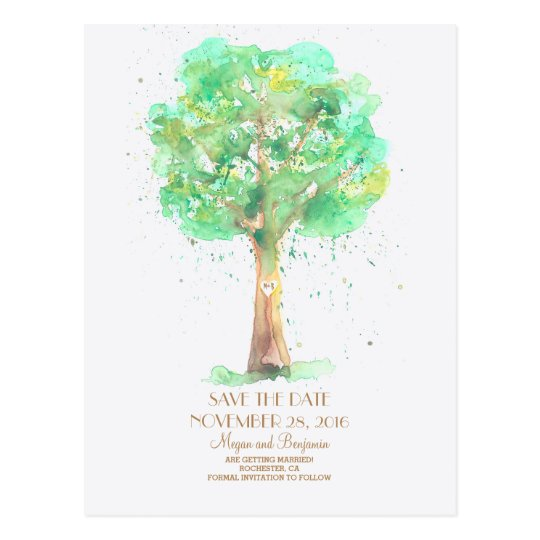 Love Tree Romantic Watercolor Save The Date Postcard