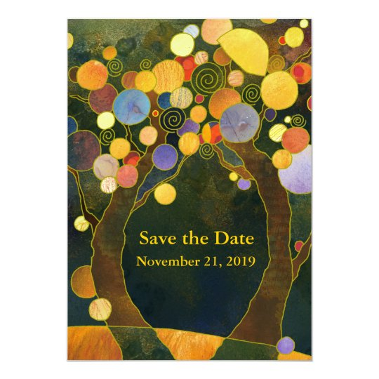 Love Trees Art Nouveau Wedding Card