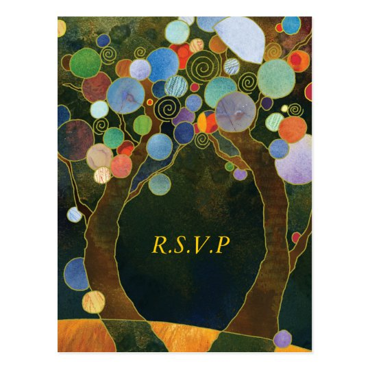 Love Trees Blue Elegant Wedding RSVP Postcard