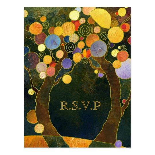 Love Trees Country Wedding RSVP Postcard