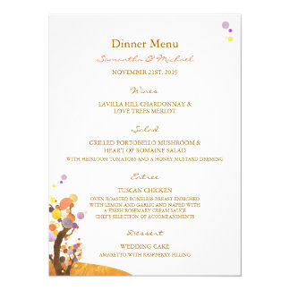 "Love Trees DIY Wedding Reception Menu (5.5x7.5) 5.5"" X 7.5"" Invitation Card"