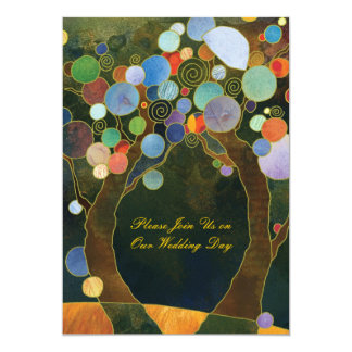 Love Trees in Blue Artistic Country Wedding 13 Cm X 18 Cm Invitation Card