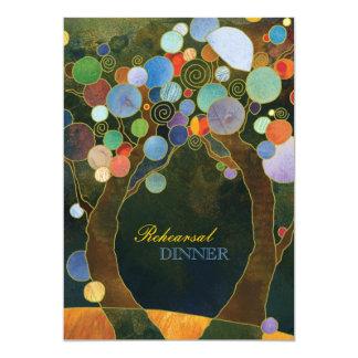 Love Trees in Blue Wedding Rehearsal Dinner 13 Cm X 18 Cm Invitation Card