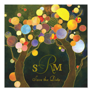 Love Trees Rustic Monogram Wedding 13 Cm X 13 Cm Square Invitation Card