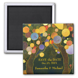 Love Trees Save the Date Wedding Square Magnet