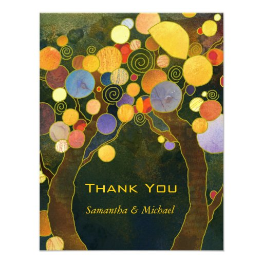 Love Trees Unique Wedding Thank You Flat Cards Personalized Invite