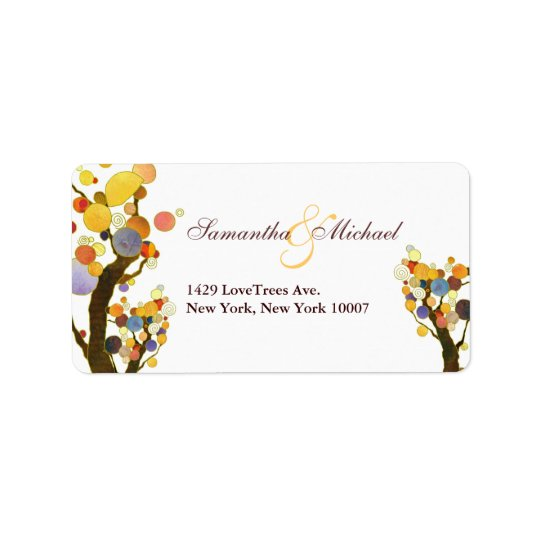 Love Trees: Wedding Address Label