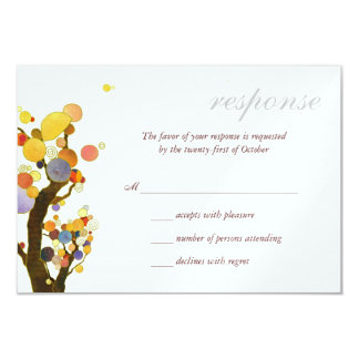 Love Trees White Ice Metallic Wedding RSVP (3.5x5) 9 Cm X 13 Cm Invitation Card
