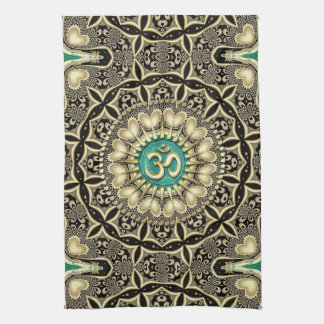 Love Tribal Black Gold OM Mandala Home Decor Tea Towel