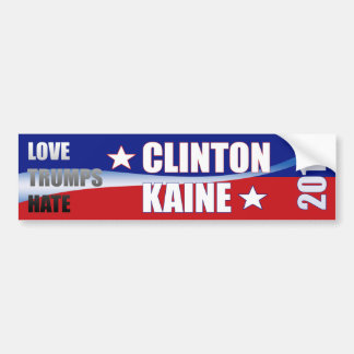 Love Trumps Hate Clinton Kaine 2016 Bumper Sticker