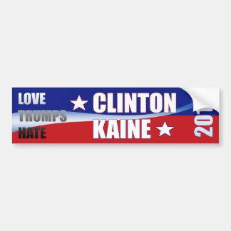 Love Trumps Hate Clinton Kaine 2016 Bumper Sticker