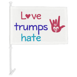 Love Trumps Hate Equality Protest LGBT Car Flag
