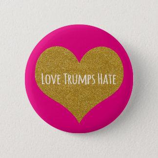 Love Trumps Hate Gold Glitter Heart Button