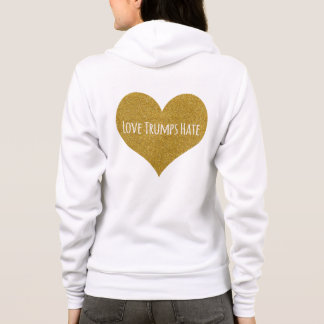 Love Trumps Hate Gold Glitter Heart Zip Up Hoodie