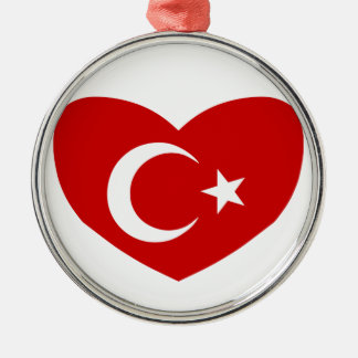 Love Turkey Silver-Colored Round Decoration