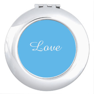 Love Turquoise Round Compact Mirror